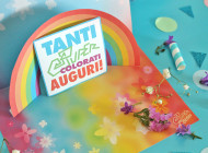 KIT Bigliettino d'auguri pop-up con arcobaleno