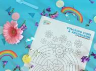 Coloring mandala con fiori e arcobaleni