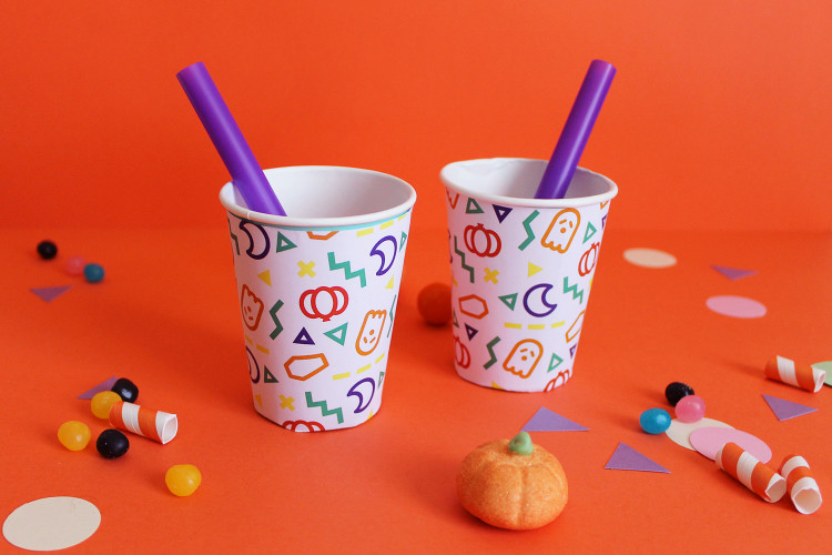 Bicchieri decorati con pattern di halloween super colors - Bicchieri decorati per natale ...