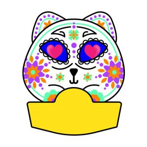 festa-di-halloween-carta-regalo-gatto-teschio-messicano-8