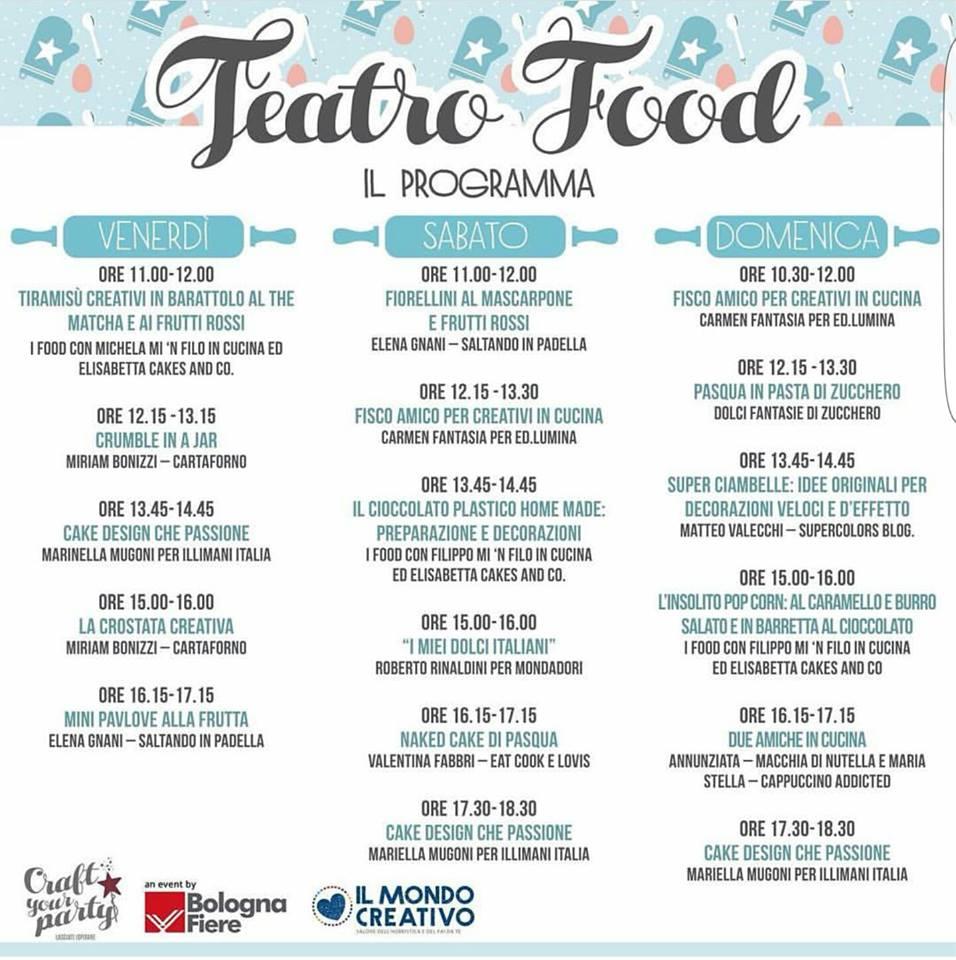 Ecco tutti gli appuntamenti del teatro food del Mondo Creativo a Bologna